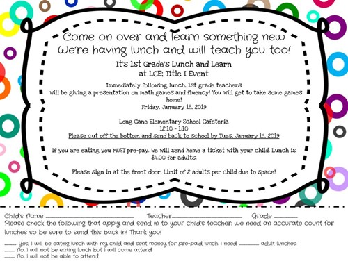 1st Grade Lunch and Learn