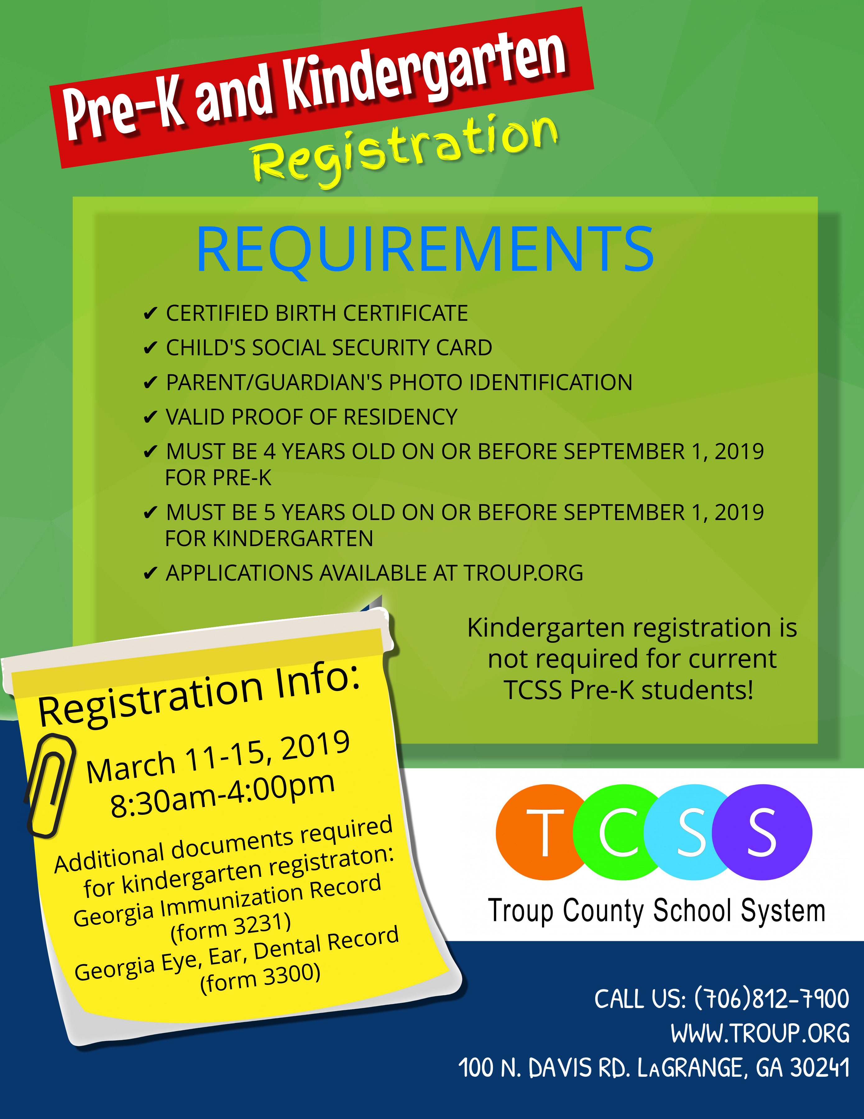 Pre-K and Kindergarten Registration Required Information