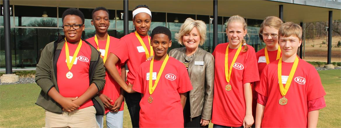 Long Cane Middle Students Pose After AWIM Competition