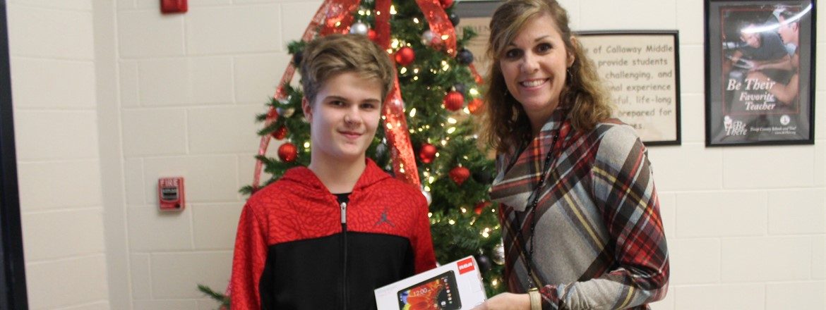 PBIS No referral November tablet winner.  Landon McNammara