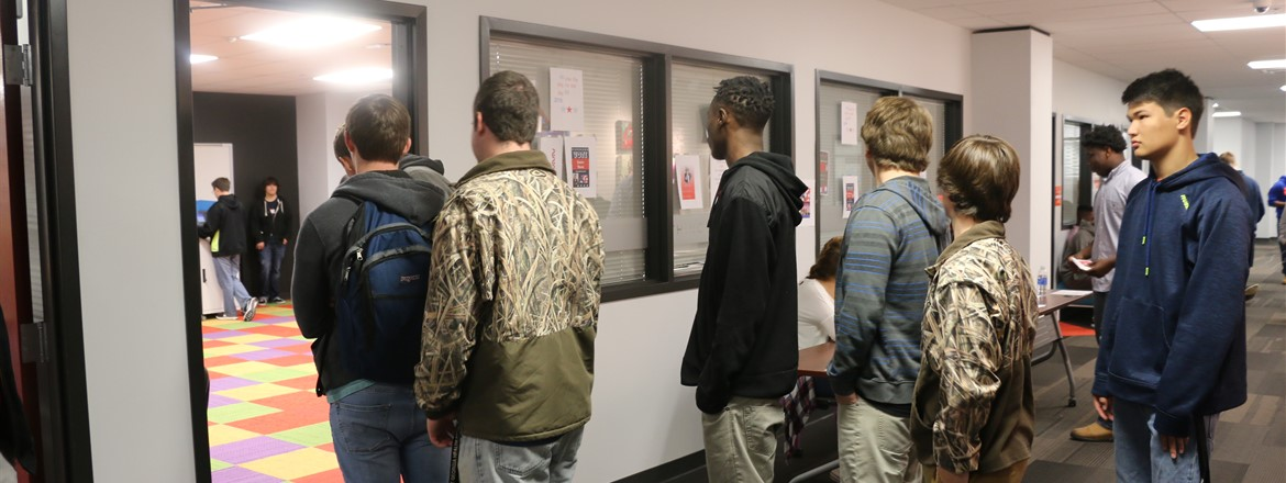 THINC students waiting to vote in Mock Election