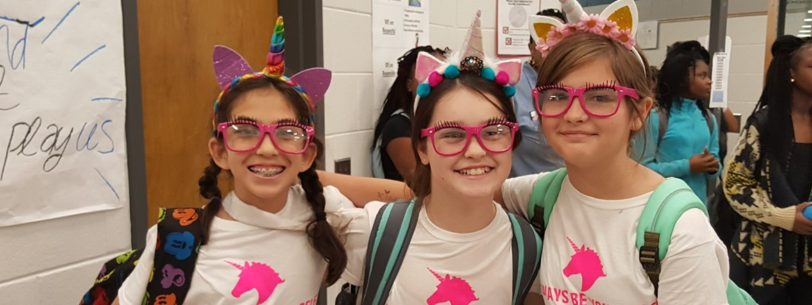 Always be yourself...unless you can be a unicorn! Unicorn Triplets on Twin Day at GNMS