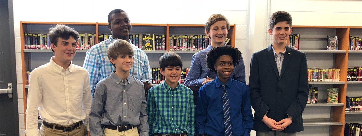 This group of 6th, 7th and 8th graders competed in the Boys' Oratorical Optimism Contest at GNMS. Each one did a great job!