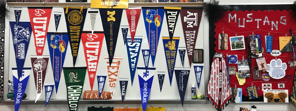 Ms. Whisby's office is inspiring Mustangs to think about  college options.
