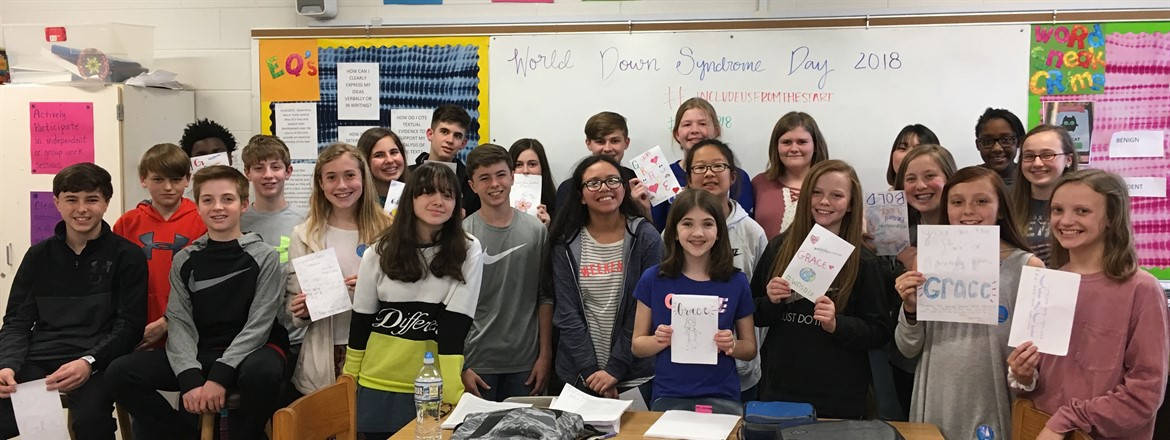 GNMS students wrote cards to Grace to congratulate her on a job well done on World Down Syndrome Day.