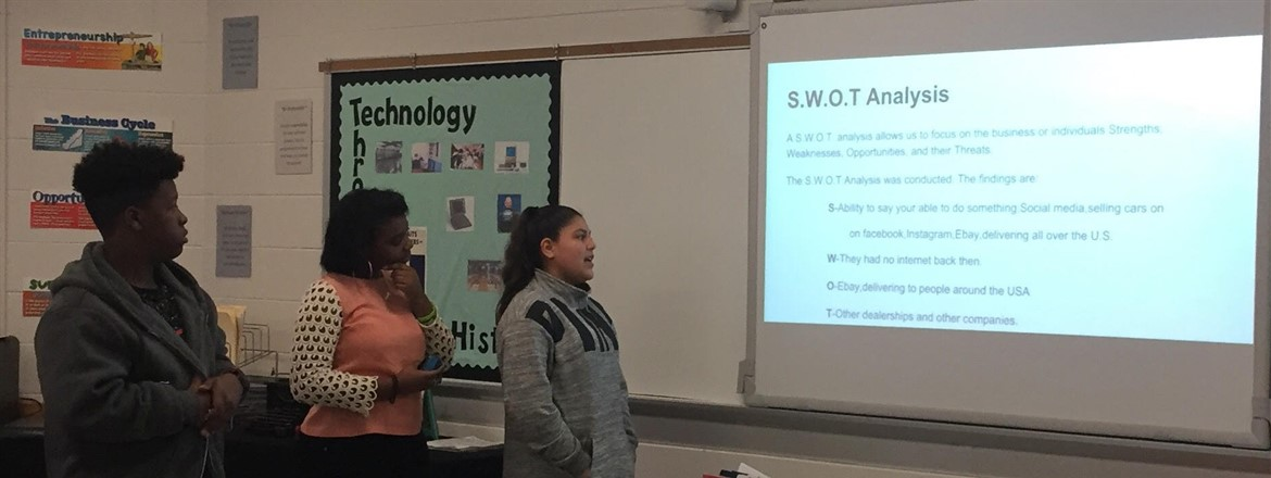 Students in Marketing class at GNMS present their marketing plan for business owners