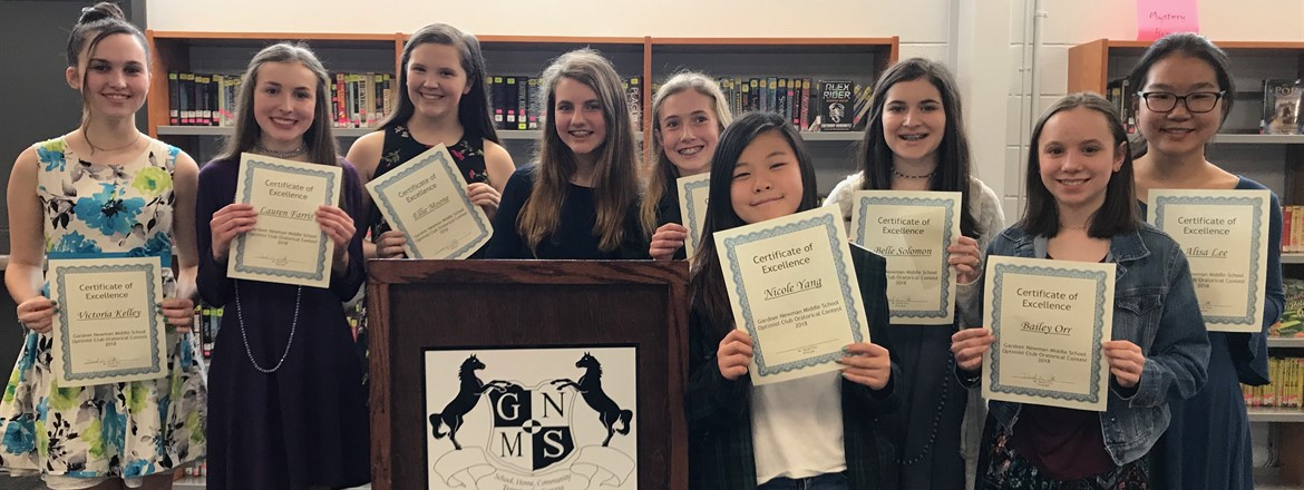 Girls' Optimism Oratorical Participants at GNMS