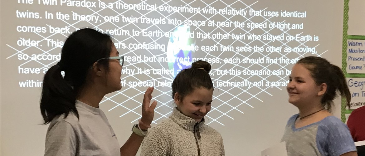 GNMS Academic Bowl students completed their first free-research projects. Alissa Lee's project was the Twin Paradox using the Blackburn twins.
