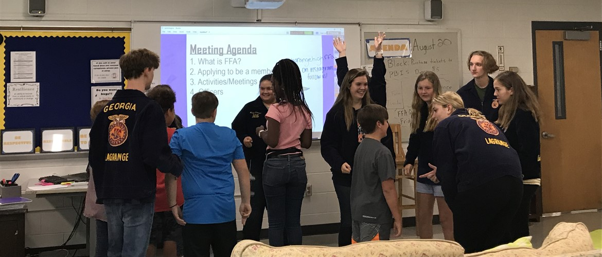 The LaGrange High FFA Officers lead Gardner Newman's first FFA Chapter meeting