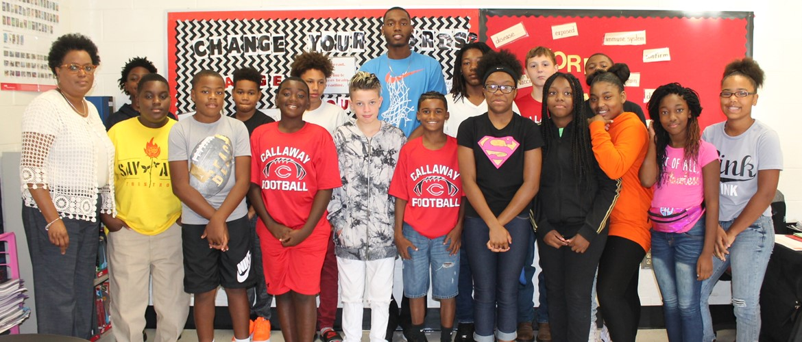 Ms. Johnson's guest speaker, former LaGrange High School student, Don Leak. He is promoting positive thinking.