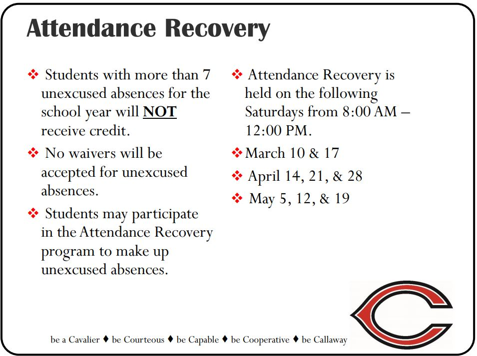 Attendance recovery poster