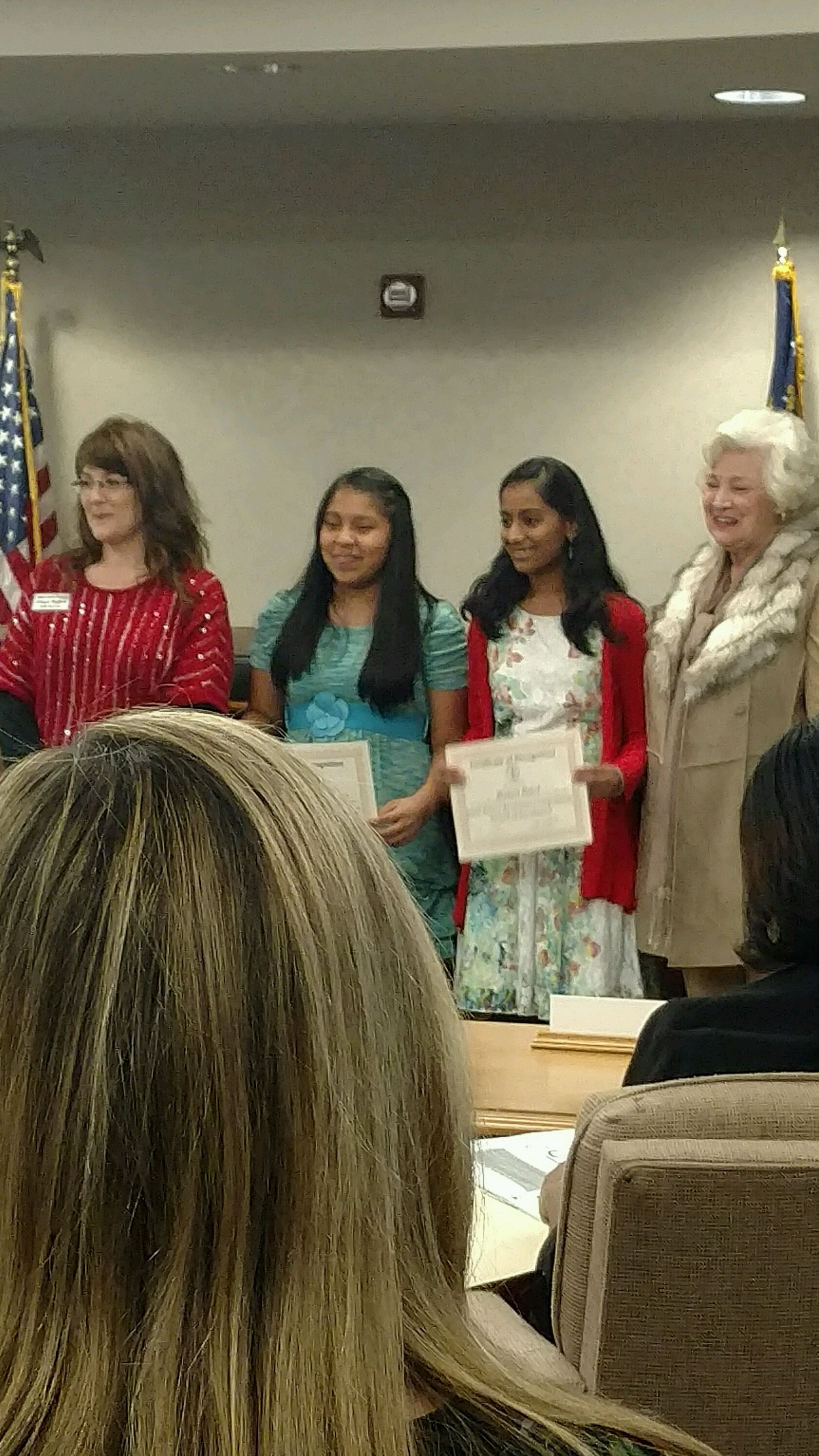 Stephanie Rodas-Lopez and Malini Patel participated in a Poetry Recitation Competition at East Newnan High in Coweta County on November 12.  The students recited two poems from memory in English (a competition category for English learners), and both received an Excellent category award!  The students are pictured with their ESOL teacher, Mrs. Ginger Hughes!  Congratulations!